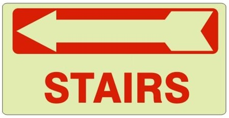 Charmant STAIRS Arrow Left Glow In The Dark Sign   Available 6.5 X 14 Self Adhesive  Vinyl