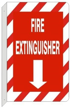 Double Faced 2 Way Fire Extinguisher Flanged Sign