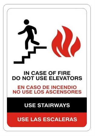 Do Not Use Elevators In Case Of Fire Bilingual