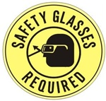 Non-Slip SAFETY GLASSES REQUIRED, Walk On 17 inch diameter Floor Sign