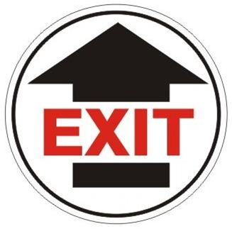 Exit With Arrow Walk On Floor Sign