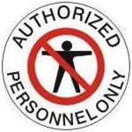 Non-Slip AUTHORIZED PERSONNEL ONLY, Walk On 17 inch diameter Floor Decal