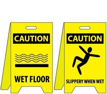 Caution Wet Floor/Slippery When Wet - Two Sided Flood Stands