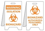 Warning Isolation Biohazard/Bio-hazard Authorized Personnel Only - Reversible Two Sided Flood Stands