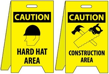 Caution Hard Hat Area Construction Area Reversible