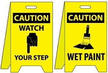Caution Watch Your Step Wet Paint Floor Stand Signs