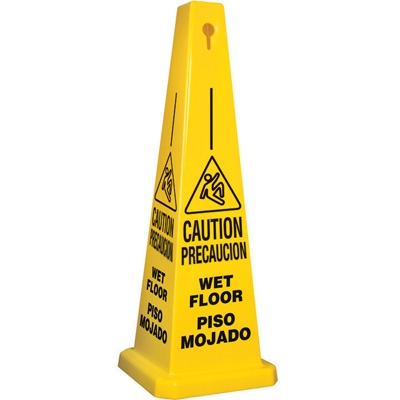 Yellow 4 Sided Caution Bilingual Wet Floor Safety Cone
