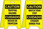 Bilingual Caution Tripping Hazard/Watch Your Step - Reversible Two Sided Flood Stands