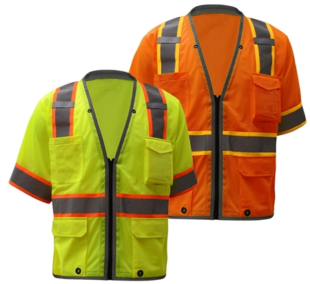 Class 3 Brilliant Hi Viz Safety Vest, Zipper Closure High Visibility Safety Vest - ANSI 107-2010, CLASS 2