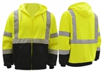 High Visibility Class 3 Lime Fleece Hooded Zip Sweatshirts