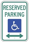 Handicapped Reserved Parking Sign with double arrow, 12 X 18 - Type I Reflective on .80 Aluminum, Top and Bottom mounting holes