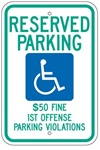 ALABAMA STATE SPECIFIED HANDICAPPED PARKING Sign - 12 X 18 - Type I Reflective on .80 Aluminum, Top and Bottom mounting holes