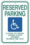 HAWAII STATE SPECIFIED HANDICAPPED PARKING Sign - 12 X 18 - Type I Reflective on .80 Aluminum, Top and Bottom mounting holes