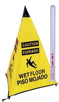 Bilingual Handy Cone Floor Sign Caution Wet Floor