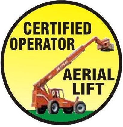 CERTIFIED AERIAL LIFT OPERATOR, Hard Hat Labels