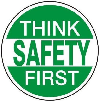 think safety first hard hat label / helmet decal