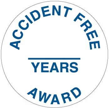 ACCIDENT FREE AWARD (Blank) YEARS, Hard Hat Labels