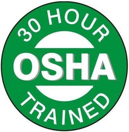 Hard hat label 30 hour osha trained