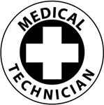Medical Technician - Hard Hat Labels are constructed from Durable, Pressure Sensitive Vinyl, Sold 25 per pack