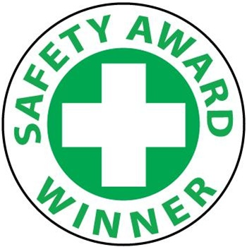 Safety Award Winner - Hard Hat Labels are constructed from Durable,  Pressure Sensitive Vinyl,