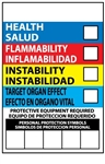 Bilingual Right to Know Label - Health, Flammability, Instability and Personal Protection 6 X 4 Sold 10 per Pack