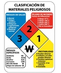 Spanish Hazardous Materials Classification Sign - Available in to sizes 11 X 8 or 14 X 10