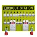 20 Locks, 50 Tags, 6 Hasps, Lockout Stations - Heavy Duty 19 X 24 yellow acrylic plastic panel.