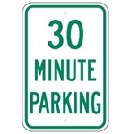 30 MINUTE PARKING Sign - 12 X 18 – Reflective .080 Aluminum, visible day or night. Top and Bottom mounting holes.
