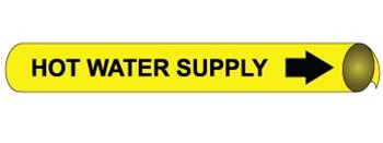 Hot Water Supply Pre-coiled and Strap On Pipe Markers - Available in 8 Sizes