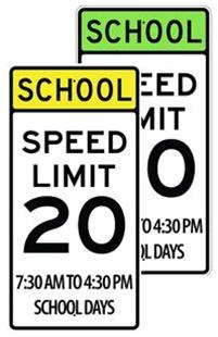 school zone speed limit 20 mph sign