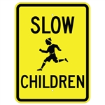 SLOW CHILDREN Sign w/child symbol - Available in 24 X 18 Engineer Grade or Hi Intensity Reflective .080 Aluminum
