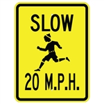 SLOW CHILDREN 20 MPH SIGN - 24 X 18 Engineer Grade or Hi Intensity Reflective .080 Aluminum