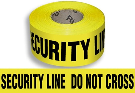 Security Line Do Not Cross - Barricade Tape - 3 in. X 1000 ft. lengths - 3 Mil Durable Polyethylene