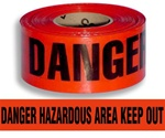 Danger Hazardous Area Keep Out Barricade Tape - 3 in. X 1000 ft. Rolls - Durable 3 mil Polyethylene