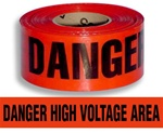 Danger High Voltage Area Barricade Tape - 3 in. X 1000 ft. Rolls - Durable 3 mil Polyethylene