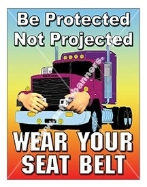 Vertical, Be Protected, Not Projected, Wear Your Seat Belt, Safety Banners and Posters, Choose from 4 sizes plus 6 different size posters