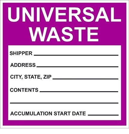 Quot Universal Waste Quot Label 6 X 6 Sl 2068