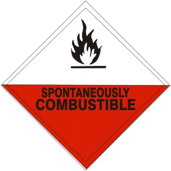 SPONTANEOUSLY COMBUSTIBLE Subsidiary Risk Labels - 4 X 4 - (25/PK) - Self Adhesive Vinyl