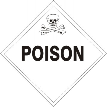 POISON Subsidiary Risk Labels - 4 X 4 - (25/PK) - Self Adhesive Vinyl