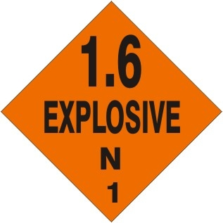 1.6 EXPLOSIVE N Shipping Label 4 X 4 - Choose Package of 25 Vinyl or Roll of 500 Paper labels
