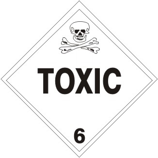 TOXIC CLASS 6 Shipping Label 4 X 4 - Choose Package of 25 Vinyl or Roll of 500 Paper labels