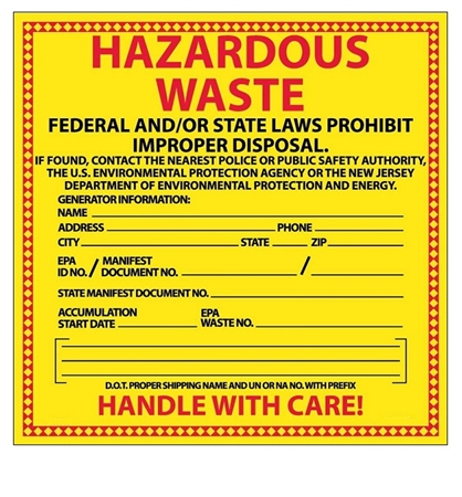 hazardous waste labels new jersey - Hazardous Waste Labels