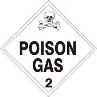 POISON GAS CLASS 2 Shipping Label 4 X 4 - Choose Package of 10 Pressure Sensitive Vinyl or Roll of 500 Vinyl Labels