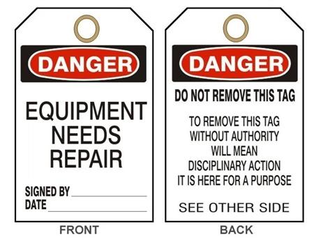 Danger Equipment Needs Repair Tags