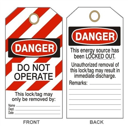 DANGER DO NOT OPERATE LOCK-OUT/TAG-OUT Tags - This Energy Source Has Been Locked Out - Available in 2 Sizes