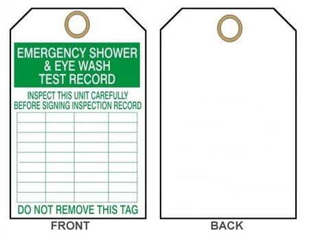 Emergency Eye Wash Amp Shower Test Record Tag 25 Pack