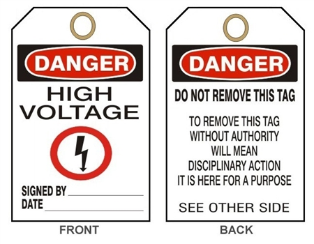 High Voltage Osha Danger Tag
