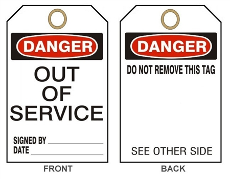 Danger Out Of Service Tag 25 Pack