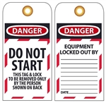 DANGER DO NOT START - Accident Prevention Lockout Tags