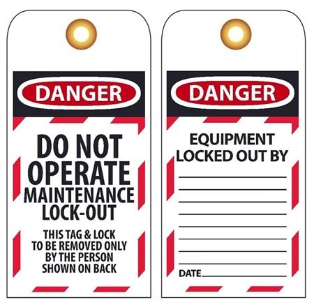 Danger Do Not Operate Maintenance Lock Out Tags